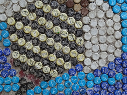 Bee body bottle cap close-up