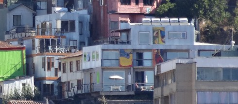 Valparaiso Experience from the Water. Notice the Murals on the building.