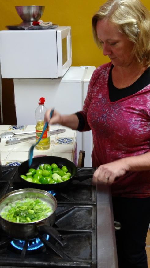 Sauteing the Tomatillos