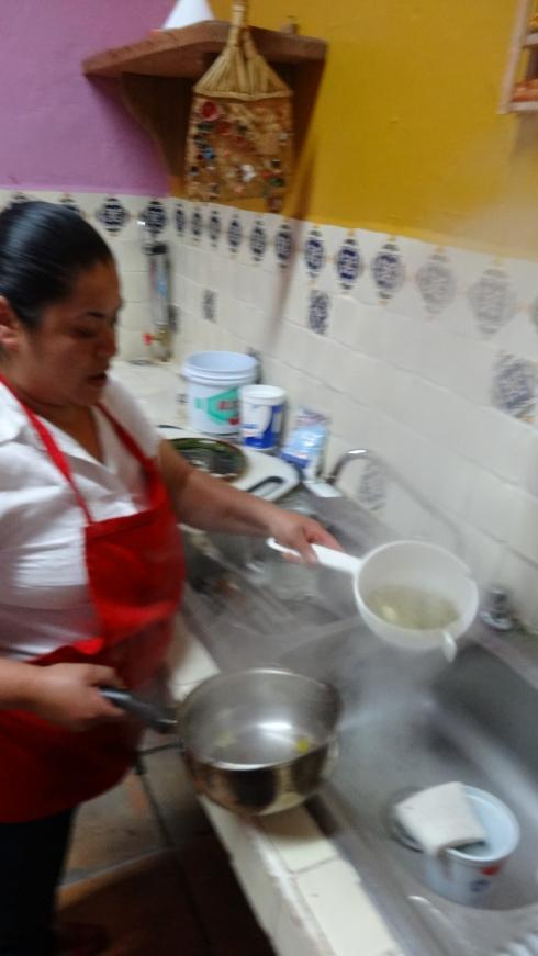 Rinsing the Nopales