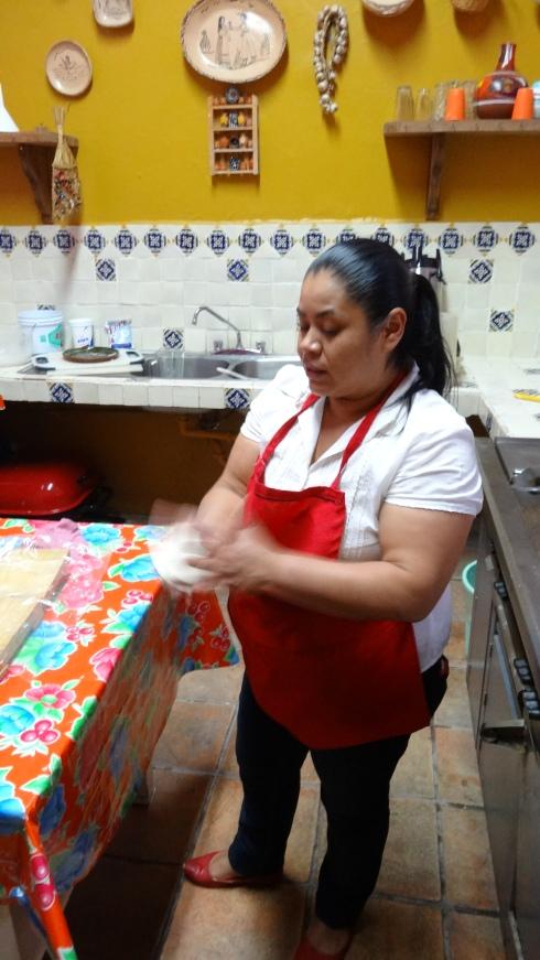 Shaping the gordita dough